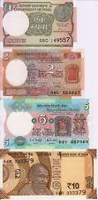 India Set Lot 1, 2, 5, 10 UNC Rupees - Low Start - Paper Money Banknotes
