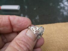 Vintage sterling silver filigree vines ring w / hallmark- sz.8