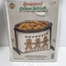 Needlemagic Cross Stitch Cookie Basket Wood Stand Christmas Gingerbread Boys