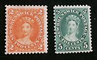 #7 & #8 1860 New Brunswick QV.  Used, F/VF.  CV $15+