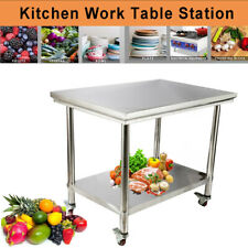 Rolling Top Kitchen Work Table Cart Stainless Steelcasters Shelving 40x28x32