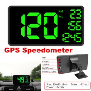 1Pc Car Full Screen HUD Head Up Display Over Speed Warning GPS Speedometer 6.2''