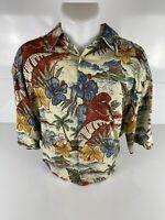 Campia Moda Mens Hawaiian Shirt Multicolor Blue Floral Short Sleeve Pocket L