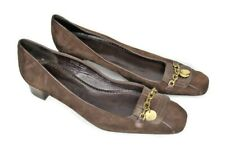 J Crew Women's 8.5M Brown Suede Square Toe Chain Accent Low Heel Pumps Italy