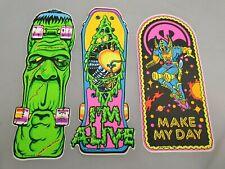 3x Skateboard Aufkleber mit Monster, Fantasy & Comic Motiv Vintage Sticker 1990