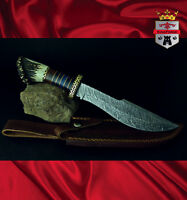 Damasacus hunting knives 080 Stag hunter KingForge, Bush knife carbon steel gift