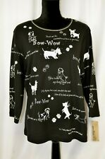 New Cactus Women's Pullover Blouse Top Size 1X Dogs Puppies Playing Fun
