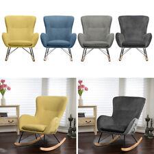 Wingbacck Soft Rocking Chair Nursing Armchair Reclining Garden Seat Lounge Retro