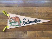 Vtg Edmonton Alberta Mini Pennant Felt Banner 1960's Canada Souvenir AB Beaver
