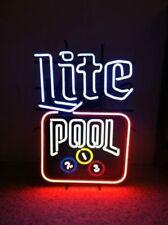 "New Miller Lite Pool Game Room Billiards Decor Artwork Beer Neon Sign 24""x20"""