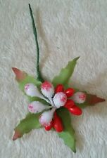 5 x red/white frosted flower centre clusters. * UK SELLER *