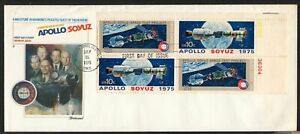 1975 Apollo-Soyuz Sc 1570a block of 4 Fleetwood cachet on jumbo cover