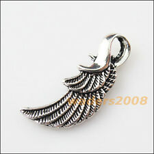 6 New Feather Wings Tibetan Silver Tone Charms Pendants 13x32mm