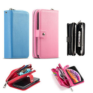 For iPhone X/XS/XR/XS Max Detachable Magnetic Leather Zipper Wallet Phone Case