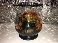 Yankee Candle Halloween SPOOKY BLACK CAT Crackle Glass Votive Holder. SUPER RARE