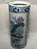 Traditional Small Ceramic Pottery Floral Umbrella Holder Round Stand