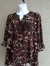 NWT Womens Rafaella Textured Knit Roll Tab Sleeve Animal Print Top XXL msrp $65.