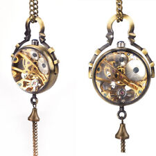 Retro Skeleton Mechanical Hand Wind Glass Ball Necklace Pendant Pocket Watch