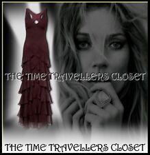 BNWT Kate Moss Topshop Aubergine Silk Tiered Ruffle Maxi Gown Flutter Dress UK12