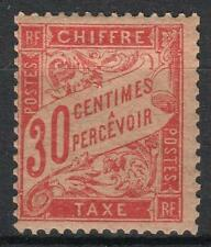 "FRANCE STAMP TIMBRE TAXE 34 "" 30c ROUGE-ORANGE "" NEUF x TTB RARE   M063"