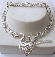 GENUINE SOLID 925 STERLING SILVER OVAL BELCHER FILIGREE BRACELET HEART PADLOCK