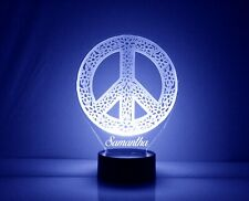 Peace Sign Personalized Night Lamp - FREE Engraved Name - LED Night Light