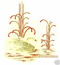 """G05 Swan on Real Gold and White Ceramic Decal, 5"""" x 5 3/4"""", Water, Reeds, Bird"""
