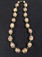Rare Colour Art Deco Venetian Aventurine Wedding Cake Glass Large Bead Necklace