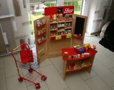 Kaufladen, Einkaufsladen, Holz klappbar mit sehr viel Zubehör Kasse + Einkaufsw.