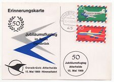 1969 GERMANY 50th Anniversary Flight Cover OSNABRÜCK ATTERHEIDE Airport POSTCARD
