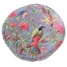 Tropical Floral Birds Mink Beige Pink Large Floor Filled Cotton Velvet Cushion