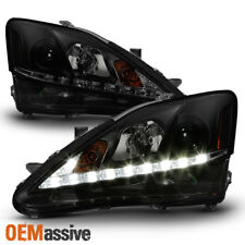 Fits 2006-2010 Lexus IS250 IS350 Black Smoked LED DRL Projector Headlights Lamp