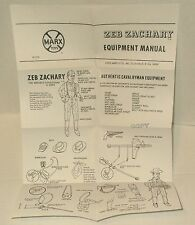 Marx ZEB ZACHARY EQUIPMENT MANUAL repro instruction sheet Johnny BEST OF WEST