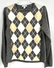 Geneva Womens M Cashmere Crew Neck Sweater Gray TAN Argyle Long Sleeve EUC