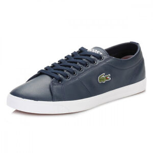 Lacoste Men's Marcel Riberac LCR3 SPM Leather Shoes Trainers - Navy