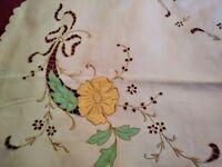 Pretty Madeira Embroidered and Appliq Linen Tablecloth 50 inches