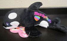 "Lisa Frank Max Splash Orca Whale 7"" Fantastic Beans Bean Bag Plush black white"