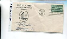 NAVAL REVIEW 1957 FIRST DAY STAMP COVER R.A. GENDERS AUTOGRAPH 6407H