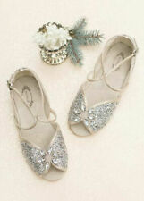 Joyfolie Girls Aubree Holiday Shoes Silver Ankle Strap Jewel Peep Toe Sandals 4Y