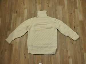 """Vtg Hand Made Ivory Wool Cable Chunky Fisherman Turtleneck Sweater M/L (Pit:22"""")"""