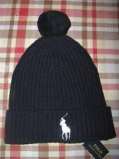 Men's POLO-RALPH LAUREN Navy Knit BIG PONY Wool Pom Pom Hat