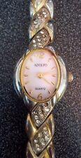 Vintage style ladies Adolpho gold tone crystal quartz watch