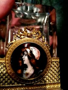 ANTIQUE C 19th ENAMEL HAND PAINTED LIMOGES LADY PLAQUE CRYSTAL PERFUME BOTTLE
