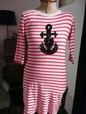 Striped Red & White Nautical bodycon Breton Style dress Sequin Anchor 10