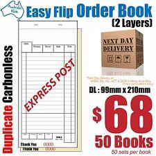 50x DL  Duplicate Carbonless Restaurant Docket Order Book
