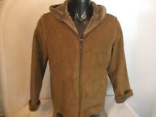 AEROS Women's Hooded Soft Warm Jacket Large Tan Faux Suede & Fur Lined EUC