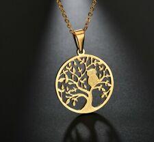 Halskette mit Anhänger Baum des Lebens mit Eule gold #B2