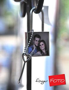 Liebesschloss mit eigenem Foto Hochzeit Schloss Namen Datum mit Herz-Schlüssel