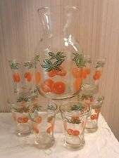 VINTAGE Anchor Hocking Morning Juice Set- Carafe with 8 Glasses all w Orange Art