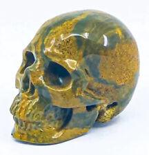 """Dreamy 2"""" Ocean Jasper Crystal Skull Meditation Carving"""